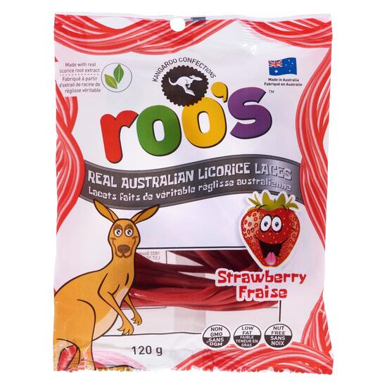 Roo's Real Australian Strawberry Licorice Laces - 120g