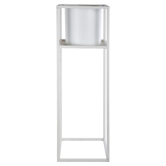 Truu Design White Cubic Floor Planter with Frame - 26in.