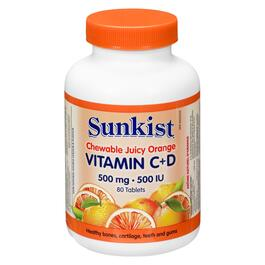 Sunkist Chewable Juicy Orange Vitamin C 500mg - 80 Tablets