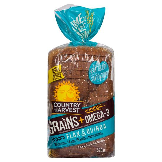 Country Harvest Grains + Omega-3 Flax and Quinoa Bread - 570g