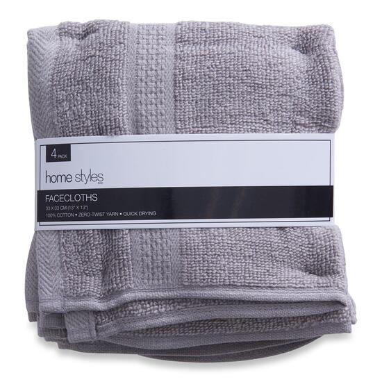 HomeStyles Light Grey Facecloths 4pk. - 13in.