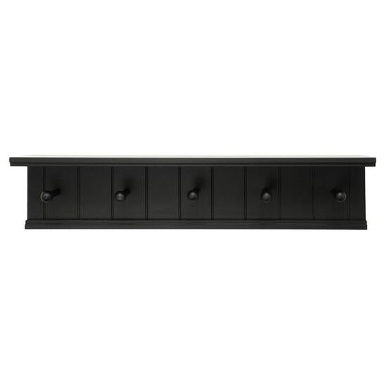 nexxt Kian - Coat Rack Wall Shelf With 5 Pegs - Black
