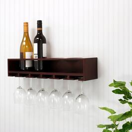 nexxt Claret Collection Wine Bottle and Glass Holder - Espresso