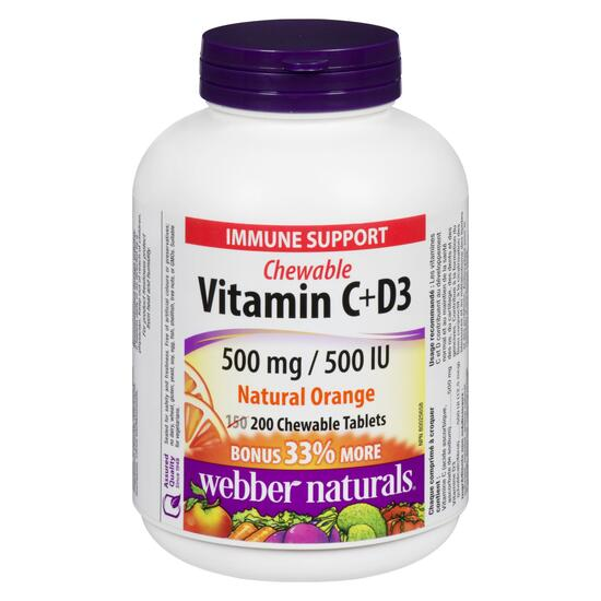 Webber Naturals Vitamin C and D3 500 mg/500 IU - 200 Tablets