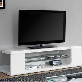 Monarch Specialties White TV Console with Tempered Glass - 60in.