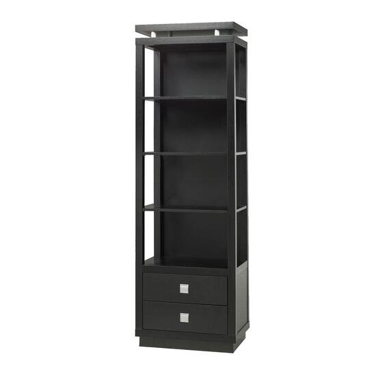 Brassex Black 4-Tier Entertainment Pier with Drawers