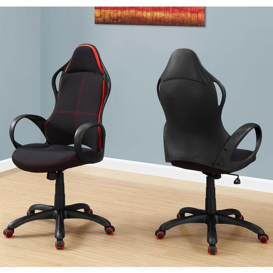 Monarch Specialties Black and Red Fabric Office Chair