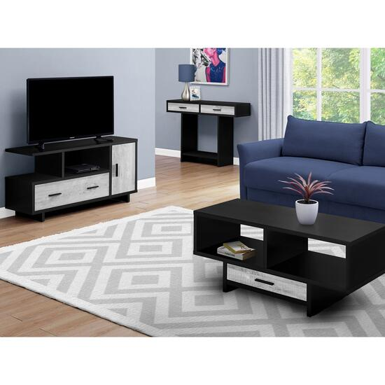 Monarch Specialties Black Reclaimed Wood Look Coffee Table