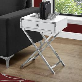 Monarch Specialties 24 in. Accent Table - Glossy White and Chrome Metal