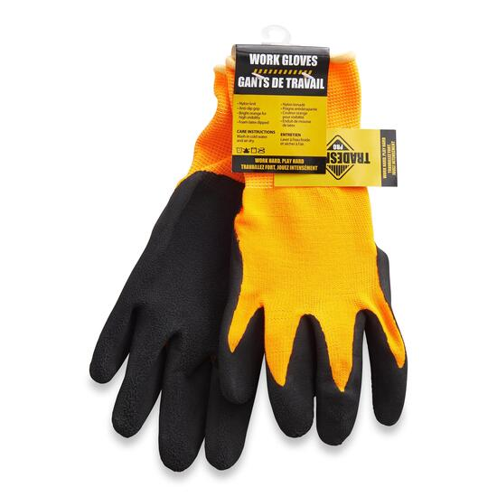 Tradesmax Pro Men's Orange Premium Latex Grip Work Gloves - S-XXL