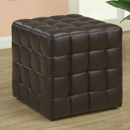 Monarch Specialties Brown Tufted Cube Ottoman
