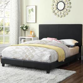 Titus Contemporary Upholstered Black Platform Bed
