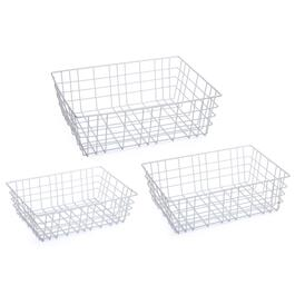 Truu Design White Open Wire Storage Baskets - 3pc.