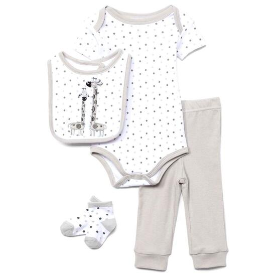 Tendertyme White and Gray Giraffe Layette Set - 4pc.