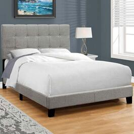 Monarch Specialties Grey Linen Bed Frame - Double