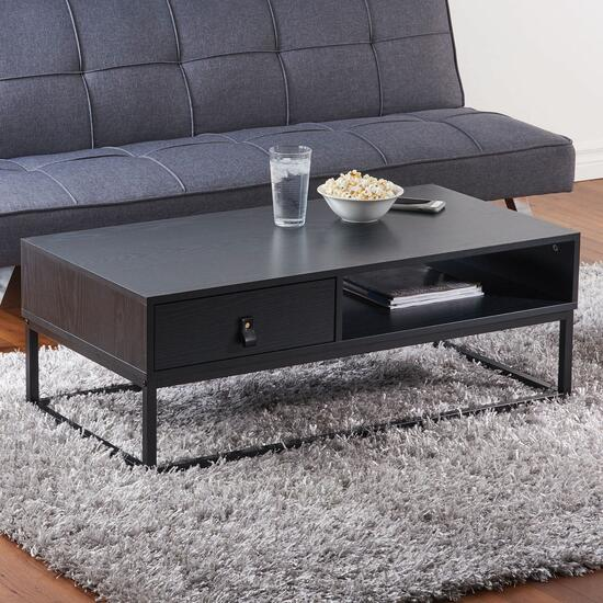 HomeStyles Black Coffee Table with Faux Leather Pull Drawer