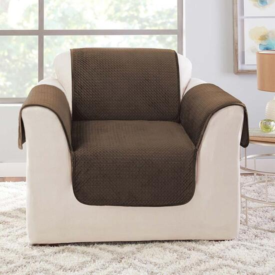 surefit Elegant Pick Stitch Smokey Brown Chair Furniture Cover
