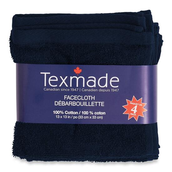 Texmade Navy Facecloth 4pk. - 13in.
