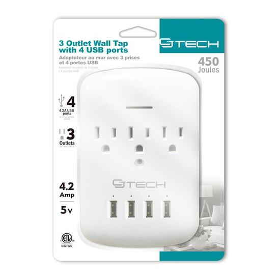 CJ Tech 3 Outlet Wall Tap with 4 USB and 450 Joules Surge Protection