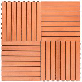 Vifah Outdoor Patio 8-Slat Eucalyptus Interlocking Deck Tiles - 10pk.