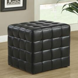 Monarch Specialties Inc. Faux Leather Ottoman - Black