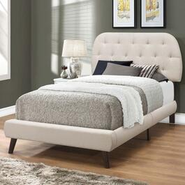 Monarch Specialities Twin Faux Leather Bed Frame with Wood Legs