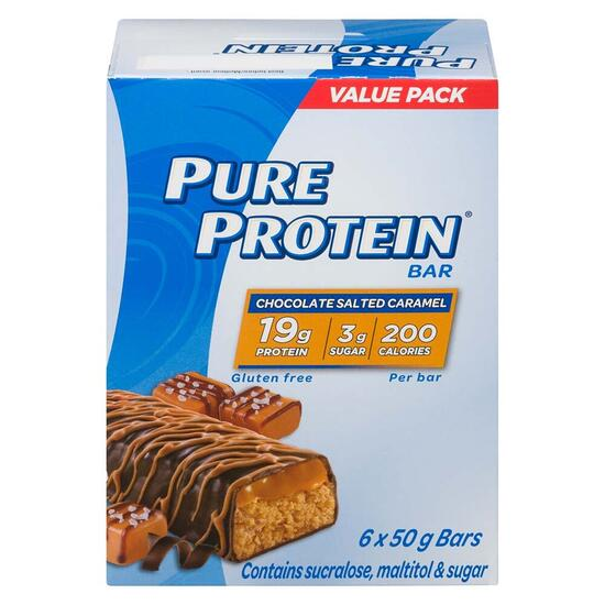 Pure Protein Chocolate Salted Caramel Bar 50g - 6pk.