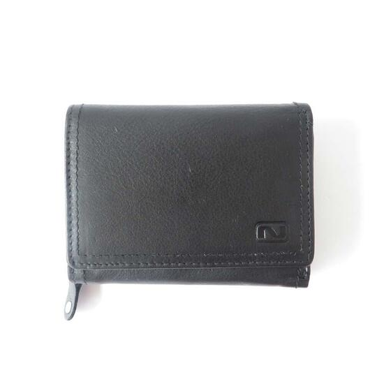 Nicci Men's Leather Trifold Wallet with Change Pocket - Black