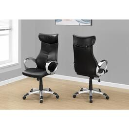 Monarch Specialties Leather-Look High Back Office Chair - Black