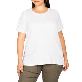 mySTYLE Women's Plus Fitted White Scoop Neck Tee - 1X-3X