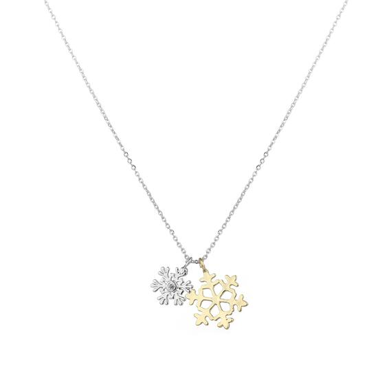 Silver & Co Necklace with Double  Snowflake Pendant