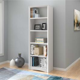 CorLiving Quadra Tall White Faux Woodgrain Bookcase - 71in.