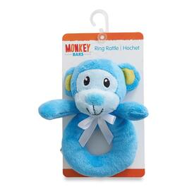 MONKEY BARS Infant Blue Ring Rattle Monkey Toy
