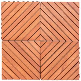 Outdoor Patio 12-Diagonal Slat Interlocking Deck Tile - 10pk.