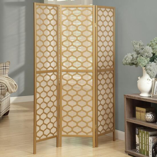 Monarch Specialties Gold Frame 3 Panel Folding Screen