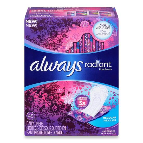 Always Radiant Regular Liners - 48pk.