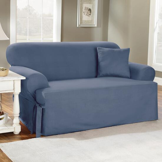 surefit¬ô Solid Cotton Slipcover for Loveseat in Blue Stone