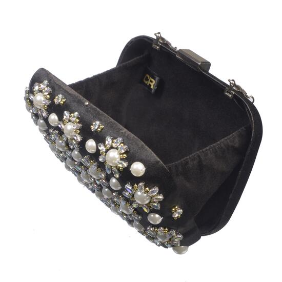 Nicci Black Embellished Evening Bag with Flower Design
