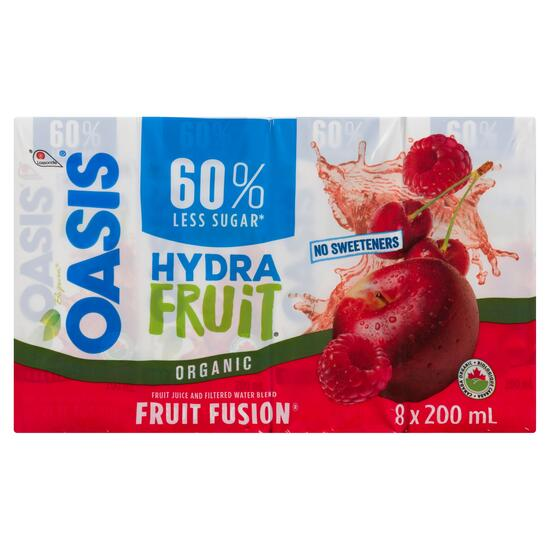 Oasis Hydra Organic Fruit Fusion Fruit Juice and Filtered Water Blend 8pk. - 200ml