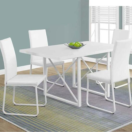 Monarch Specialties Dining Table- White Glossy -  36 in. x 60 in.