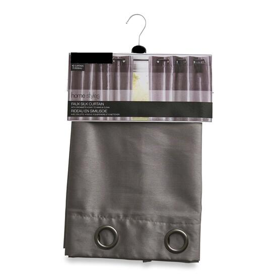 HomeStyles Grey Faux Silk Curtain Panel - 84in.