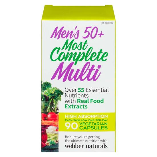 Webber Naturals Men's 50+ Most Complete Multi-Vitamin - 90 Vegetarian Capsules