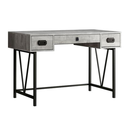 Monarch Specialties Grey Reclaimed Wood Metal Computer Desk - 48in.