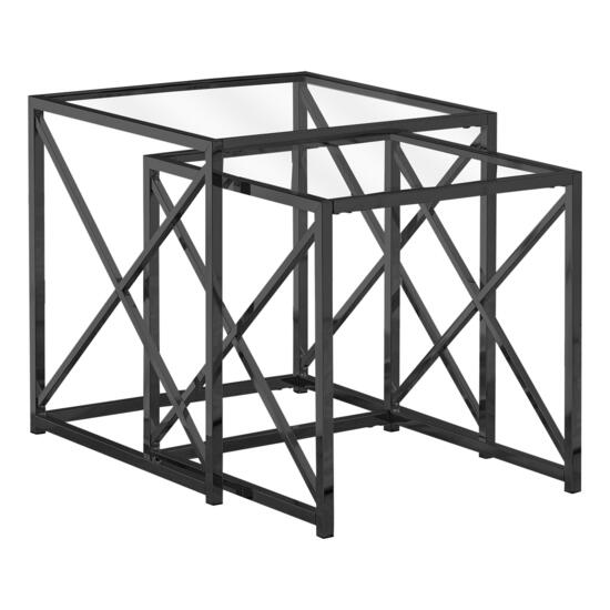 Monarch Specialties Black Nickel Tempered Glass Nesting Table 2pk. - 20in. x 20in.