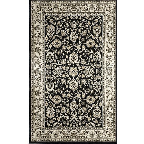 Avocado Décor Black Artificial Silk Floral Rug - 4.6ft. x 6.6ft.