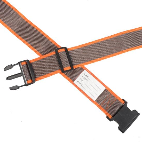 NICCI Brown/Orange Luggage Strap with Plastic Buckle