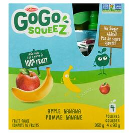 GoGo SqueeZ Apple Banana Fruit Sauce 4pk. - 360g