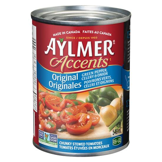 Aylmer Accents Stewed Tomatoes Green Pepper Celery Onion - 540ml