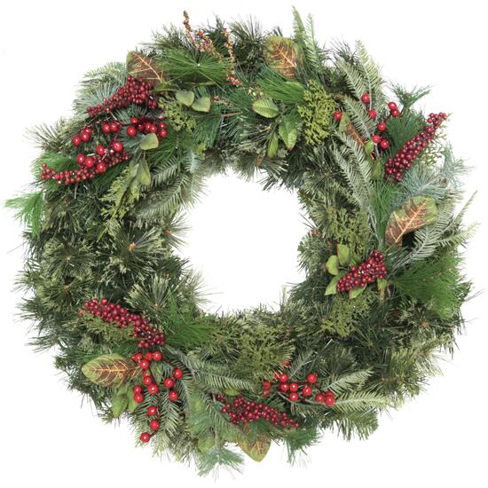 Henryka Wreath with Red Berries and Golden Leaves - 30in.