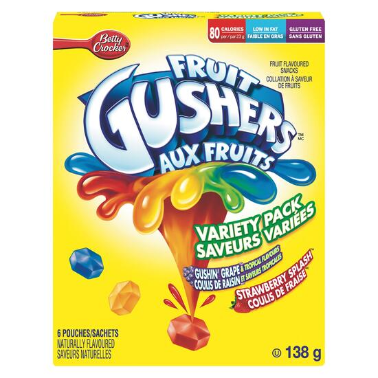 Betty Crocker Fruit Gushers Variety 6pk. - 138g